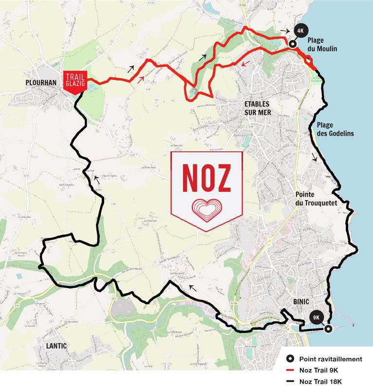 Trail Glazig Noz 9K + 18K points de ravitaillements